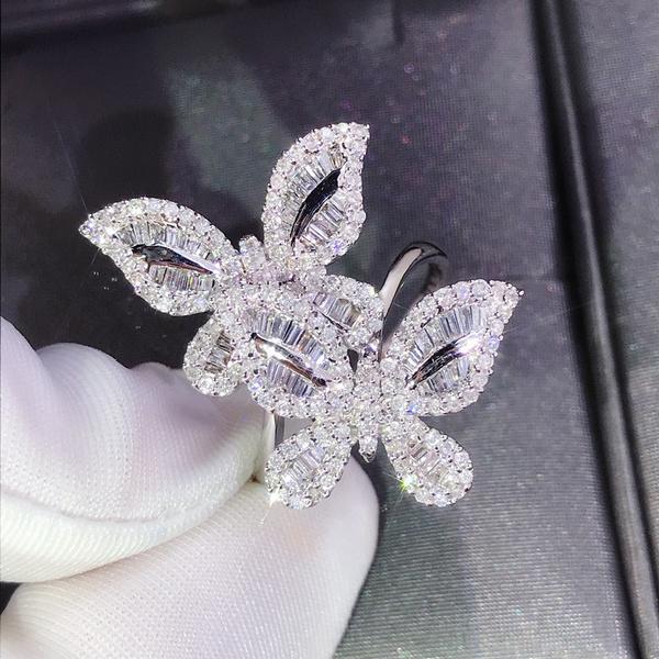 Sterling, butterfly, DIAMOND, wedding ring