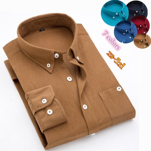 Turn-down Collar, men shirt, Plus Size, Cotton Shirt
