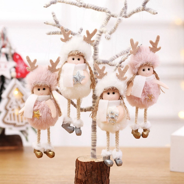 Christmas Cute Ornaments Pink White Silk Plush Hanging Doll Angel Decorations For Home Christmas Tree Xmas Gift Wish
