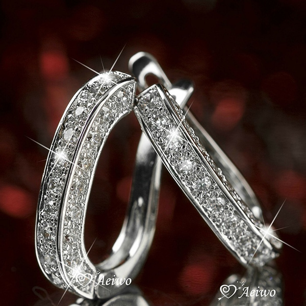 huggieearring, Sterling, DIAMOND, Gemstone Earrings