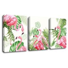 cavanspainting, readytohangwalldecor, tropicalplant, flamingo