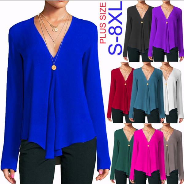 sleeve v-neck, Fashion, Office, Women Blouse
