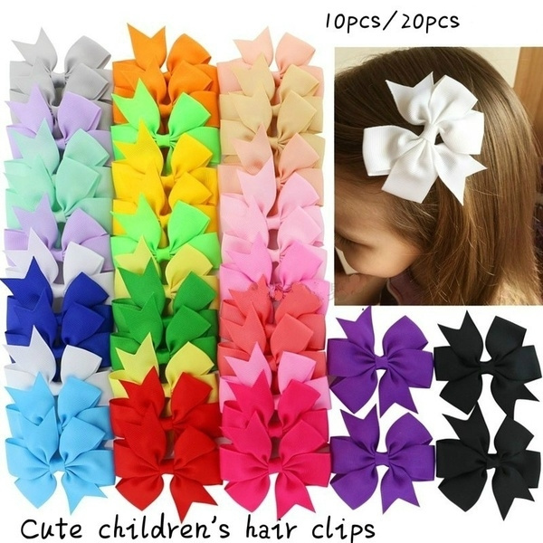 20 Colors New Alligator Clips Girls Bow Ribbon Kids Sides Accessories Hair Clip