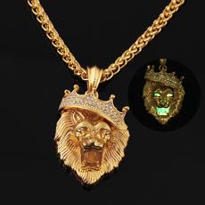 Steel, luminousnecklace, mens necklaces, lionheadnecklace