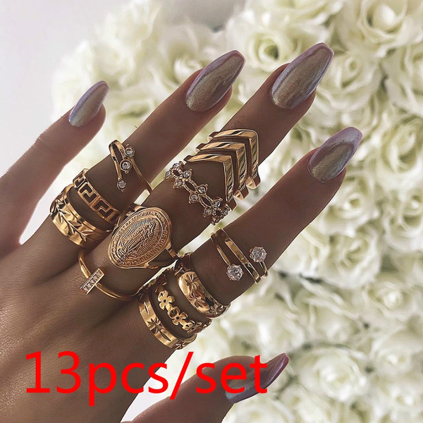 Couple Rings, crystal ring, leaf, Jewelry