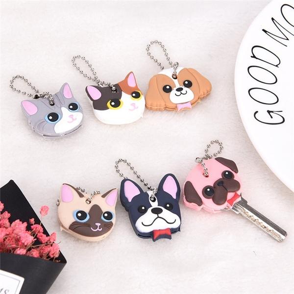 Silicone Puppy Pug Cat Rabbit Key Cover Cap Keychain Key Ring PVC Key Case2 Pip