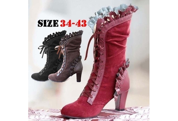 Women Leaf Boots with Vine Curl Heel Knee High Steampunk Cosplay Gothic Boots SZ