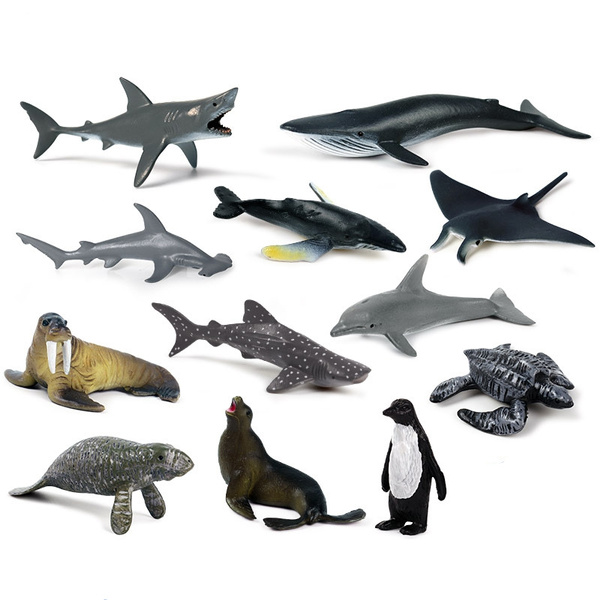 12Pcs Simulated Sea Fish Model Figurines Nature Toy Bag Filler for Kids Toddlers