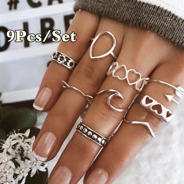 cute, Fashion, hollowring, Silver Ring