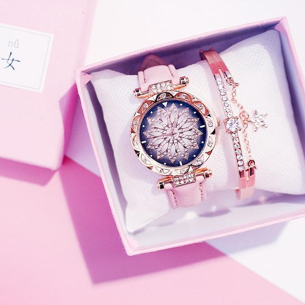 Fashion Watches Women, quartz, womenwatchesandbraclet, Sky