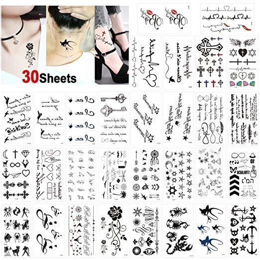 30 Sheets Tattoo Waterproof Black Temporary Tattoos Small Body Art Sticker Arm Tattoos For Men Women Handneck Wrist Wish