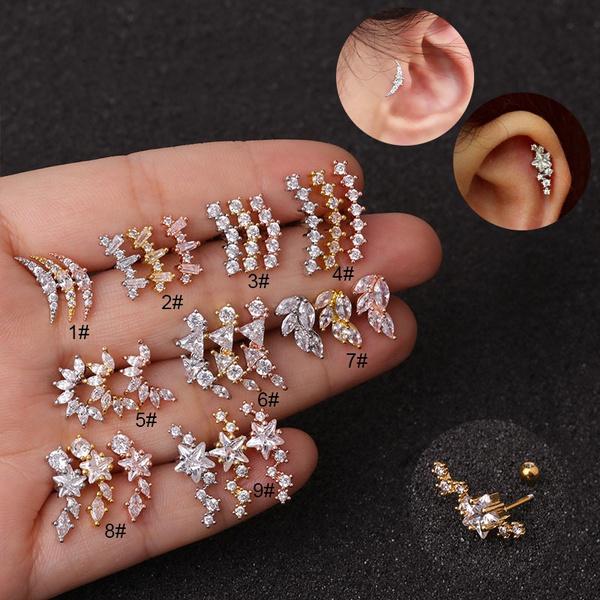 moonearstud, cartilagestud, cartilageearstud, Jewelry
