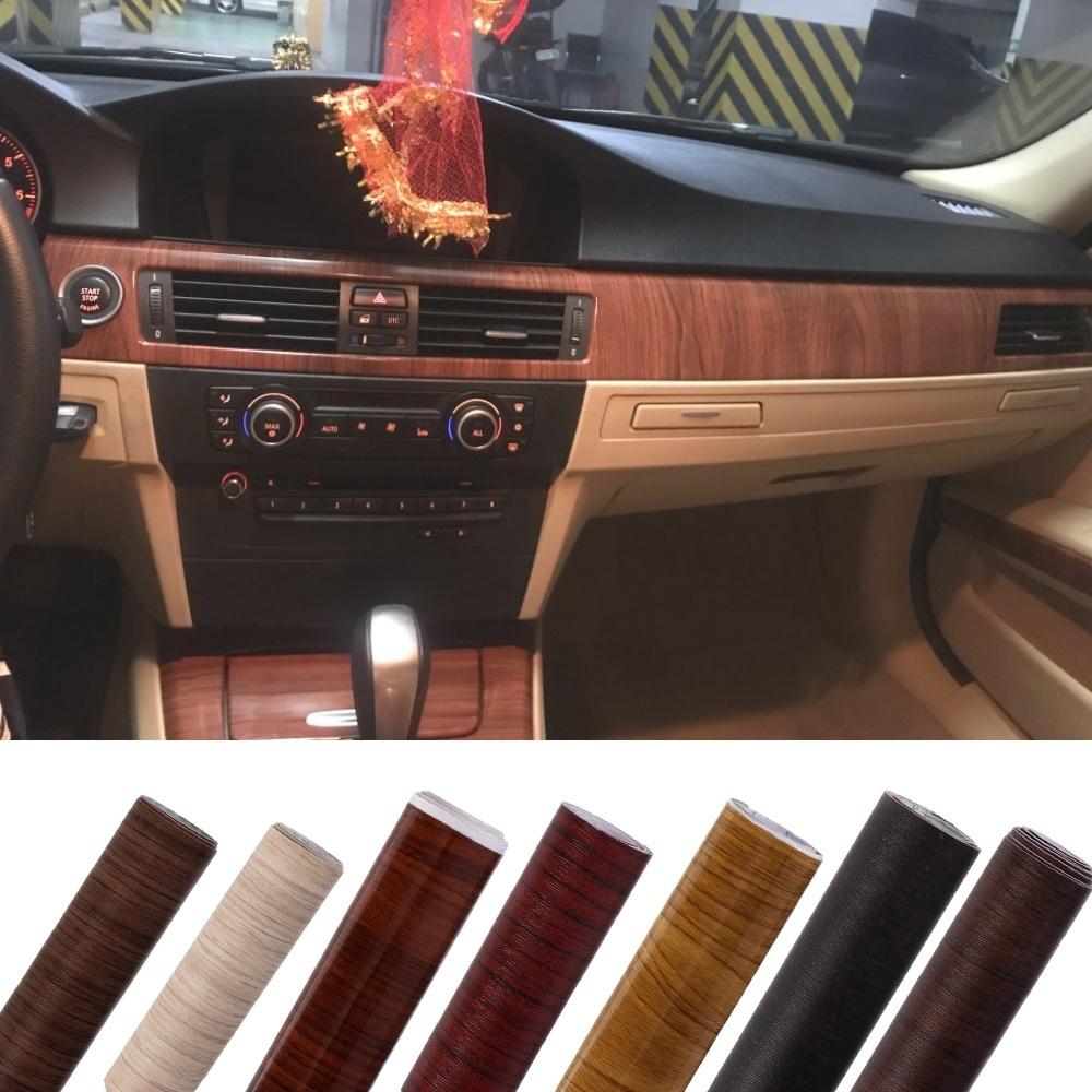 Table Decors Wood Grain Vinyl Sticker Decal Auto Decoration Car Interior Film
