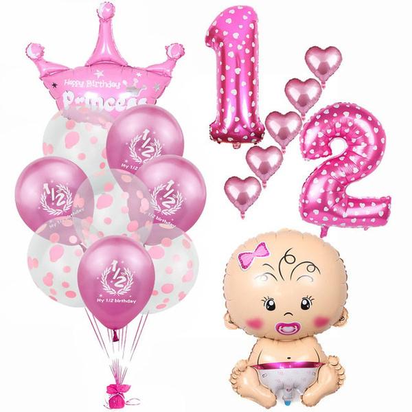 Baby Half Birthday Decorations Kit My 1 2 Birthday Latex Balloons Baby Shower Boy Girl Foil Balloon 6 Months Old Birthday Party Supplies Wish