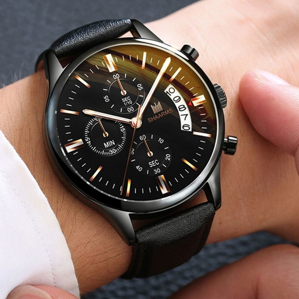 Chronograph, quartz, chronographwatch, leatherstrapwatch