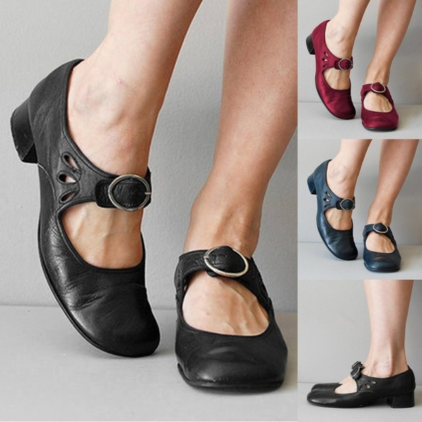 Vintage Fashion Womens Mary Jane Shoes Leather Flats Shoes Ladies Low Chunky Heel Vintage Shoes Wish