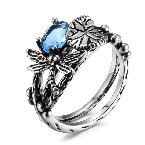 Sterling, dragon fly, Fashion, 925 silver rings