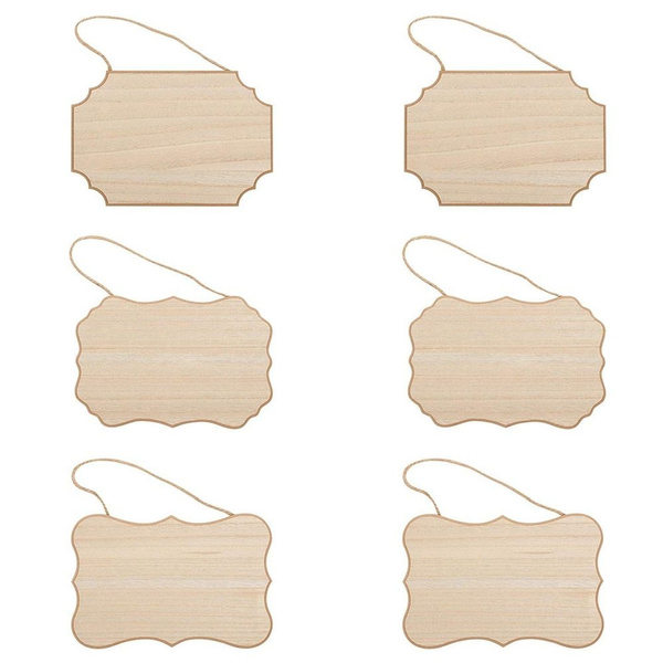 12 Pieces Unfinished Wood Hanging Sign 9 x 6 Inch Wood Blank Plaque with 2 Holes and Jute Rope Hanging Wood Sign for Pyrography Painting Writing Home Decor DIY Crafts Christmas Ornaments