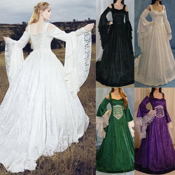 gowns, GOTHIC DRESS, Plus Size, off shoulder dress