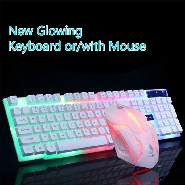 Luminous Suspension Mechanical Feel Game Mouse and Keyboard Kit Color : Black Wired USB Set YINJIESHANGMAO Keyboard and Mouse