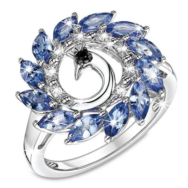 peacock, Crystal, crystal ring, wedding ring