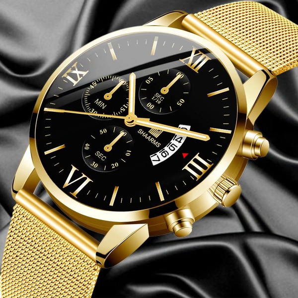 Chronograph, Fashion, business watch, gold