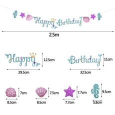 mermaidparty, Princess, happybirthdaybanner, Glitter