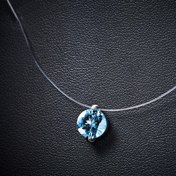 clavicle  chain, mermaid, sapphirependant, invisiblenecklace