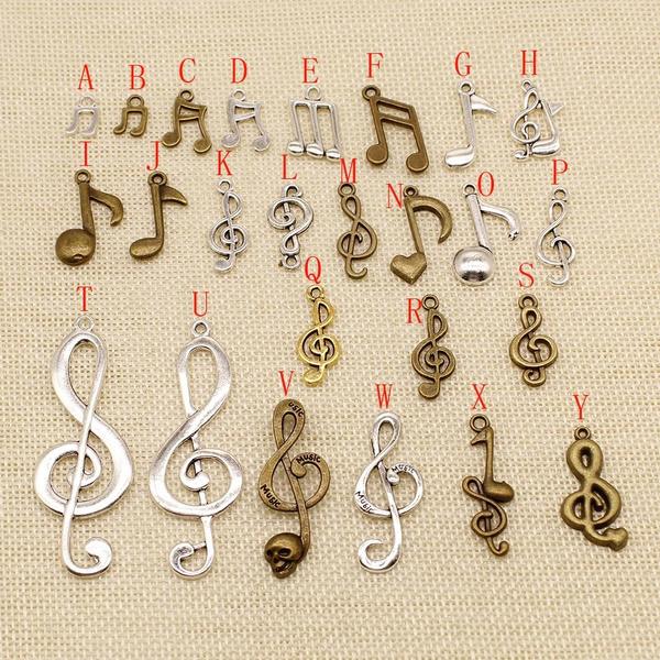 metalcharmsorbraceletcharm, suppliesforjewelrymaterial, Music, jewelryaccessoriespart