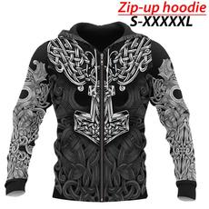 viking, Plus Size, Winter, men hoodie