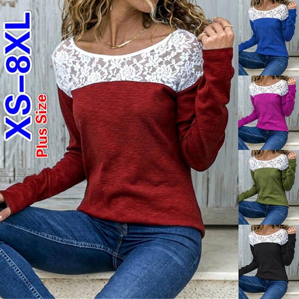 Fashion, Cotton T Shirt, Long Sleeve, Plus size top