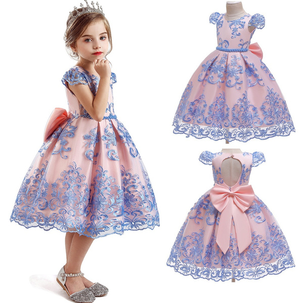 Lace, bowknot, Dress, kidsbacklessdre