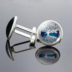 Men Jewelry, glass cufflinks, Men Cufflinks, art