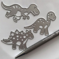 Dinosaur, stencil, stencilsscrapbooking, diyscrapbookingembossingcut