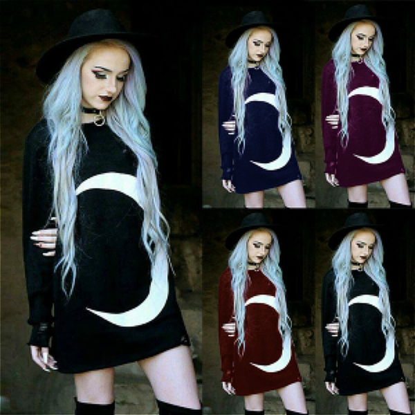 Goth, Plus Size, print dress, Long Sleeve