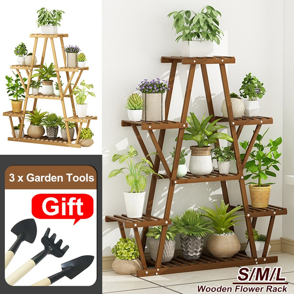 With 3pcs Garden Tools Plant Stand Shelf Indoor 4 5 Tier Tiered Wood Plant Flower Pots Shelves Rack Holder Stand Indoor Outdoor For Multiple Plants Garden Balcony Patio Living Room Wish