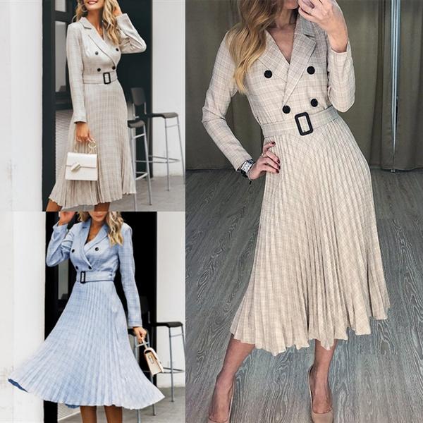 Fashion, Office, Long Sleeve, Dress