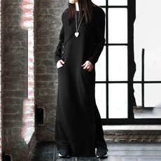 Plus Size, Long Sleeve, Vestidos, longsweatshirt