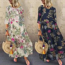 Fashion, floralprintdres, sundress, long dress