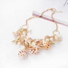 trendy necklace, Chain Necklace, shells, Choker