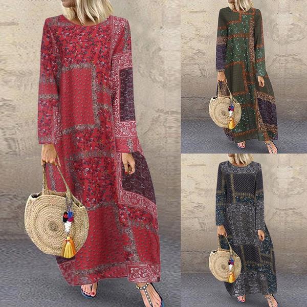 printeddres, Cotton, Autumn Dress, Sleeve