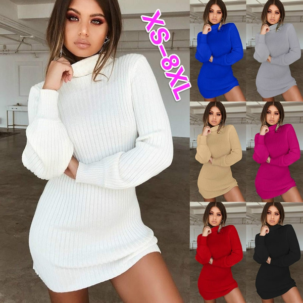 Xs 8xl Plus Size Fashion Clothes Autumn And Winter Dresses Women S Casual Solid Color Long Sleeve Dress Ladies Slim Fit Mini Party Dress High Collar Bodycon Dress Turtleneck Knitted Sweater Dress Wish