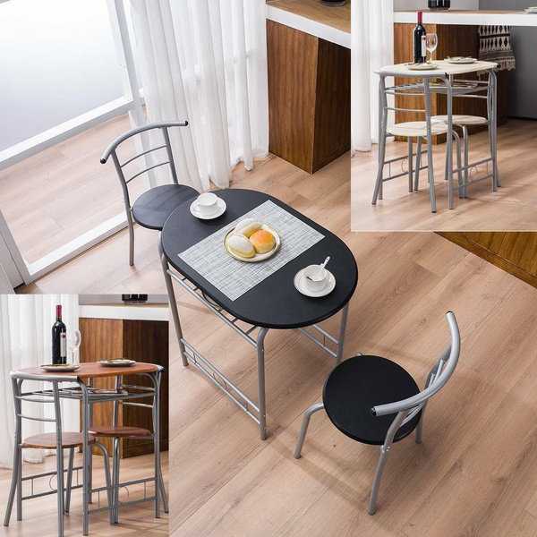 Durable 3 Piece Dining Set Metal Table And 2 Chairs Kitchen Dining Room Furniture 3 Colors Wish
