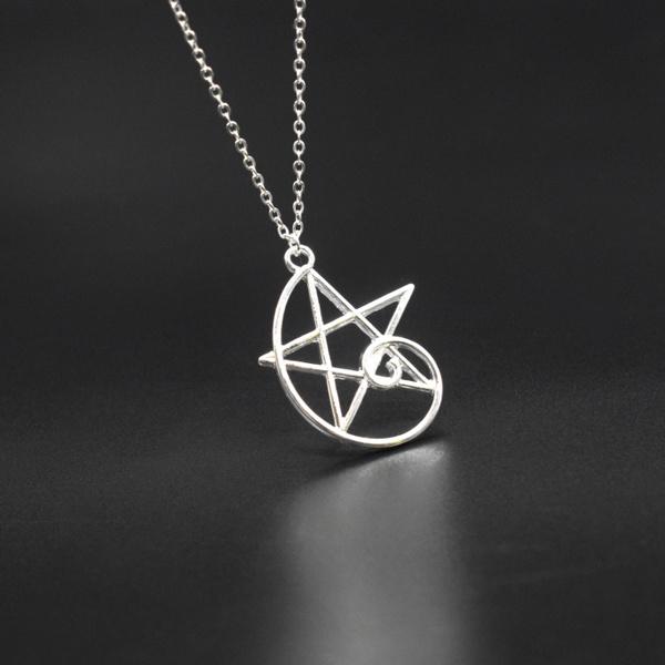 Necklace, golden, fibonaccipendantcharm, Simple
