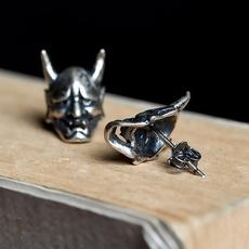 Sterling, Vintage, Goth, Stud Earring