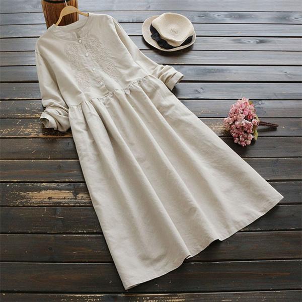 Plus Size, pleated dress, Long Sleeve, Dress