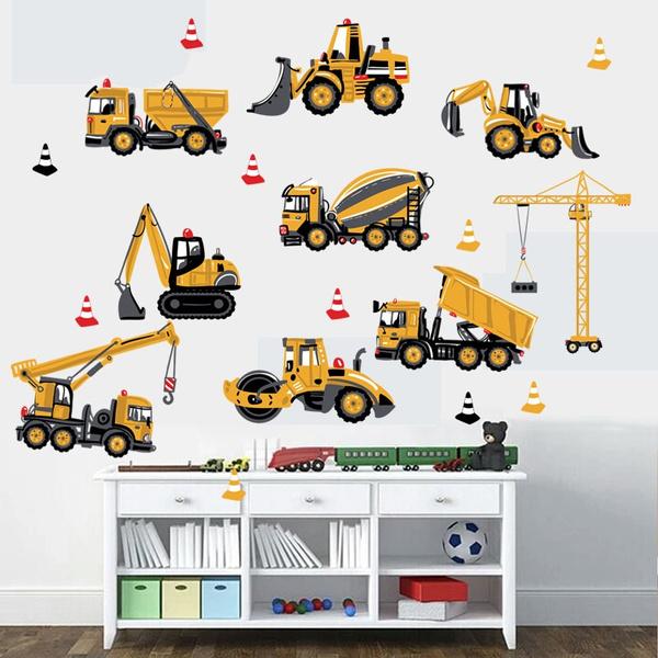 Boy, room, excavator, Wall