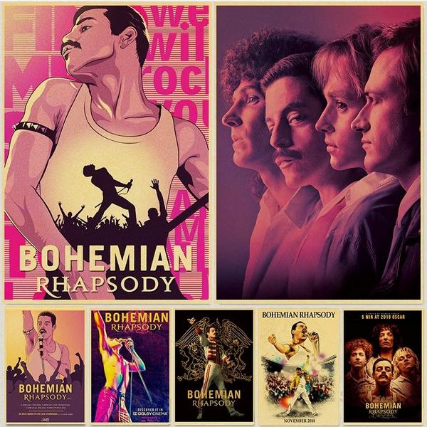 Bohemian Rhapsody Poster Freddie Mercury Rock Band Queen Posters Home Room Wall Decor Kraft Paper Wish