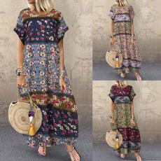 Summer, Floral print, Cotton Dress, long dress