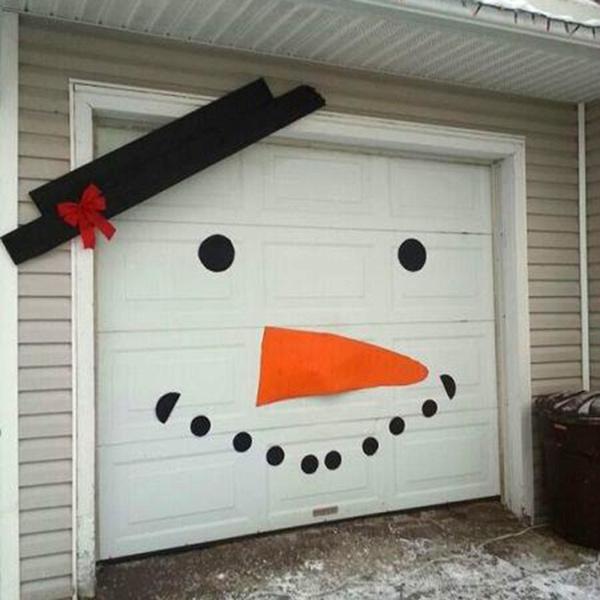 16pcs Set Diy Christmas Snowman Face Decoration Garage Door Window Decor Kit Wish